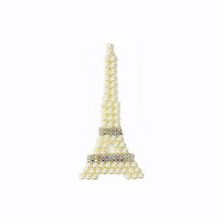Aplique Torre Eiffel com Pérola e Strass
