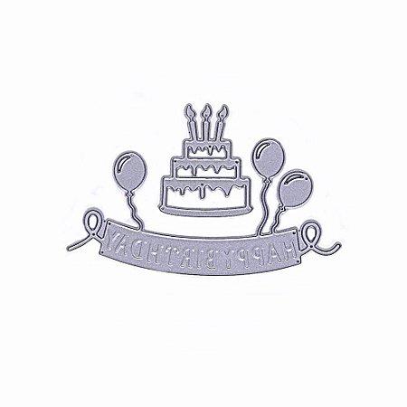 Faca de Corte Feliz Aniversário Happy Birthday 2 Peças