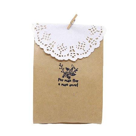 Kit Embalagem Lembrancinha PP com Carimbo Por Mais Flor e Mais Amor 50 unidades