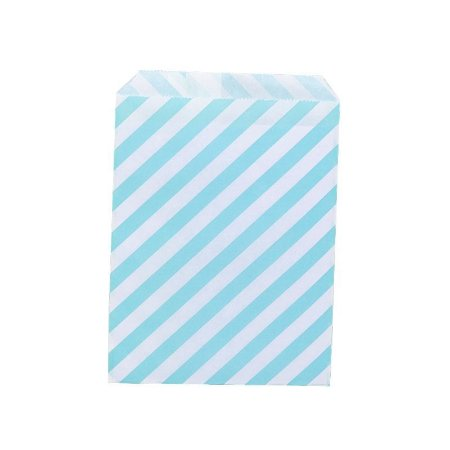 Saquinho de Papel Listrado Azul 13cm x 18cm 20 unidades