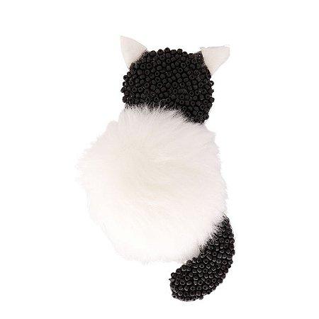 Aplique Gato com Missanga e Pelo Preto e Branco