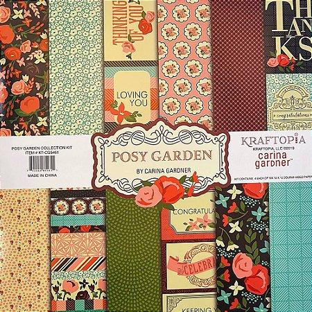 Bloco de Papel Cardstock Estampado 30,5 x 30,5 Posy Garden Floral