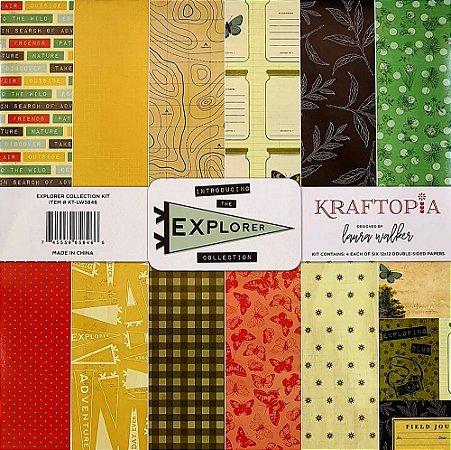 Bloco de Papel Cardstock Estampado 30,5 x 30,5 Explorer Collection Viagem