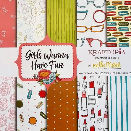 Bloco de Papel Cardstock Estampado 30,5 x 30,5 Girls Wanna Have Fun Diversão
