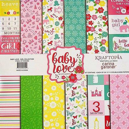 Bloco de Papel Cardstock Estampado 30,5 x 30,5 Girl Baby Love Infantil Menina