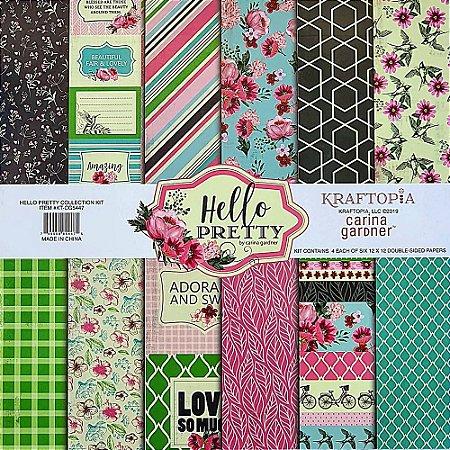 Bloco de Papel Cardstock Estampado 30,5 x 30,5 Hello Pretty
