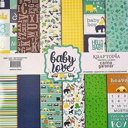 Bloco de Papel Cardstock Estampado 30,5 x 30,5 Boy Baby Love Infantil Menino