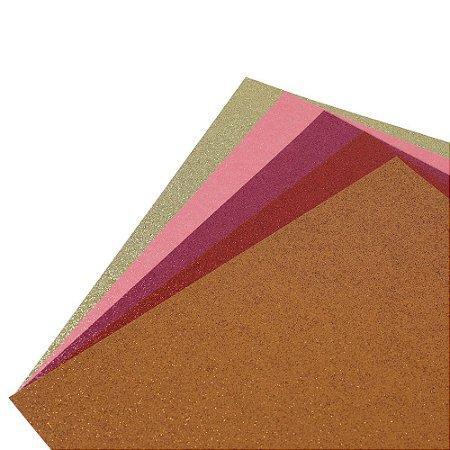 Coleção Papel Cardstock Scrap Glitter Color Doces 5 Folhas