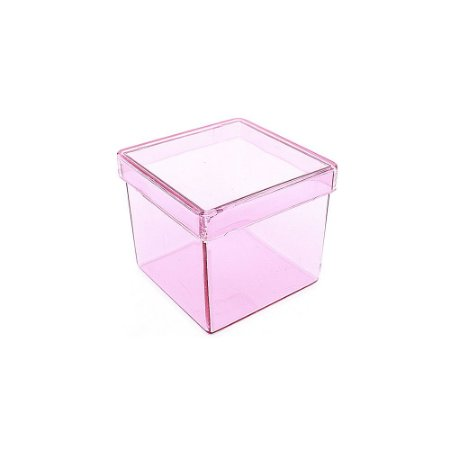 10 Unid. Caixa em Acrílico 5 cm x 5 cm Vermelho Transparente
