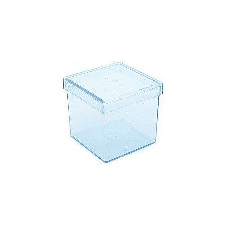 10 Unid. Caixa em Acrílico 4 cm x 4 cm Azul Transparente