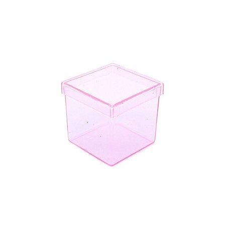 10 Unid. Caixa em Acrílico 4 cm x 4 cm Rosa Transparente