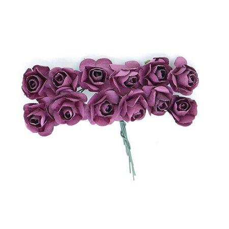 Mini Rosa de Papel Marsala 72 Unidades