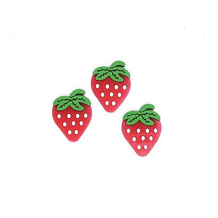 10 Apliques de Frutas em Silicone Morango