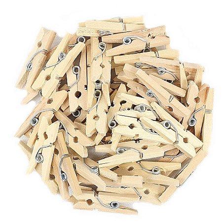 50 Unidades Mini Pregadores Madeira Natural 2,5 cm