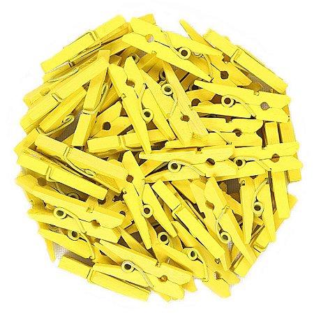 50 Unidades Mini Pregadores Amarelo 2,5 cm