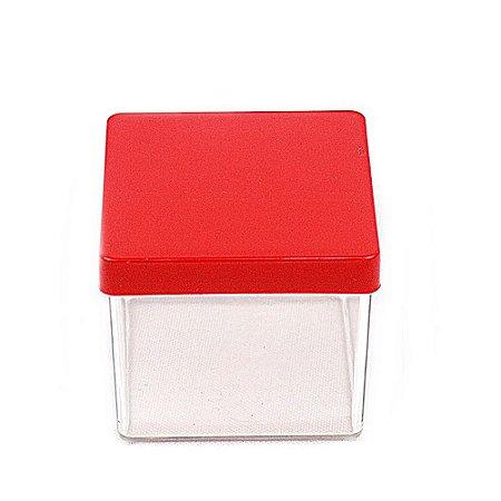 10 Unid. Caixa em Acrílico 5 cm x 5 cm Tampa Vermelha