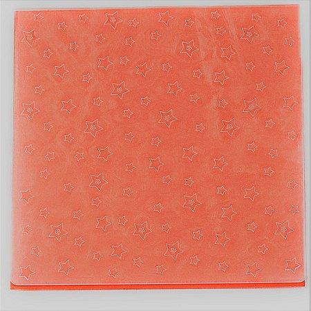 Placa de Textura Emboss 14 cm x 14 cm Estrelinhas