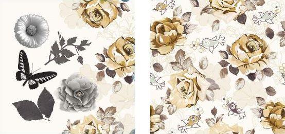 Papel para Scrapbook Desenhos 30,5x30,5 Art0012 Old Flowers