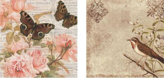 Papel para Scrapbook Desenhos 30,5x30,5 Art0184 Birds and Butterflies