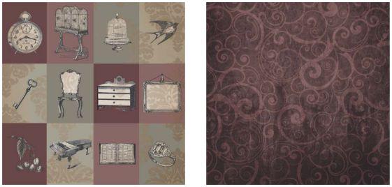 Papel para Scrapbook Desenhos 30,5x30,5 Art0188 Antiquing
