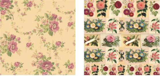 Papel para Scrapbook Desenhos 30,5x30,5 Art0182 Vintage Flowers