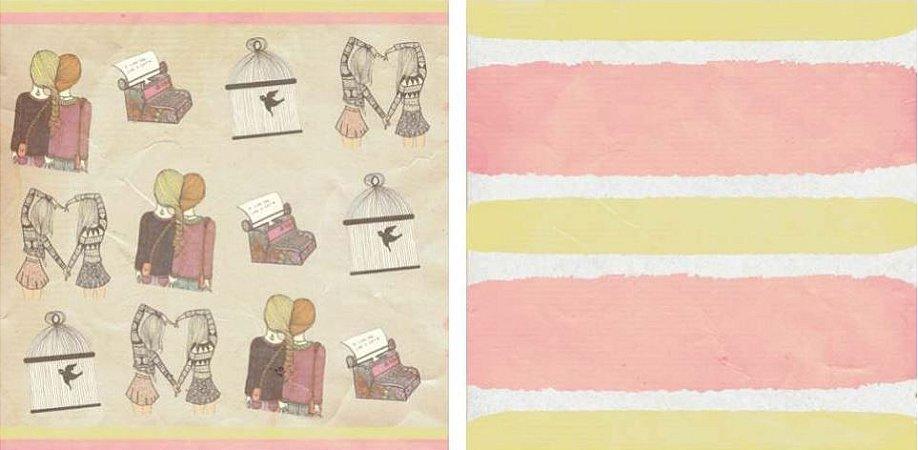 Papel para Scrapbook Desenhos 30,5x30,5 Art0019 BFFS