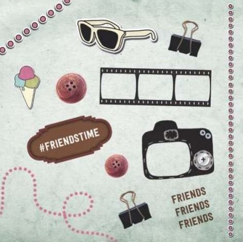 Papel para Scrapbook Desenhos 30,5x30,5 Art0023 Friends Time