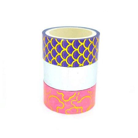 3 Unidades Fita Adesiva Washi Tape Metalizado Linda