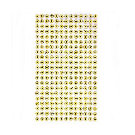 273 Unidades Chaton Strass Acrílico Adesivado Dourado 5 mm
