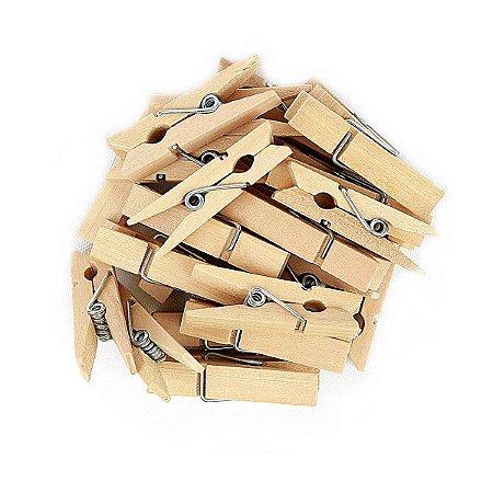 50 Unidades Mini Pregadores Madeira Natural 3,5 cm