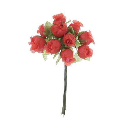 72 Unidades Mini Botão de Rosa em Cetim Vermelho