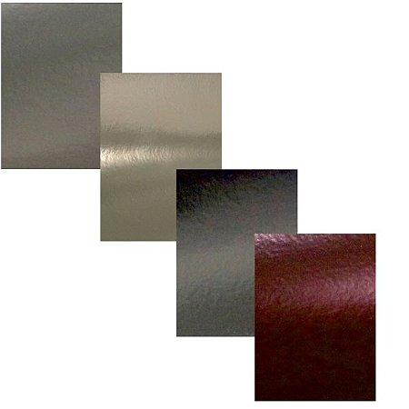 Coleção Ouro 4 Folhas Papel Scrapbook Metal A4