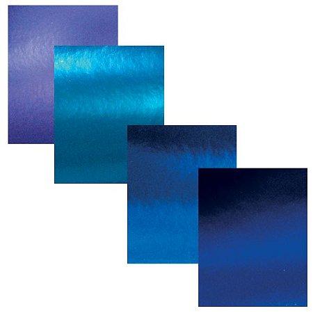 Coleção Azul 4 Folhas Papel Scrapbook Metal A4
