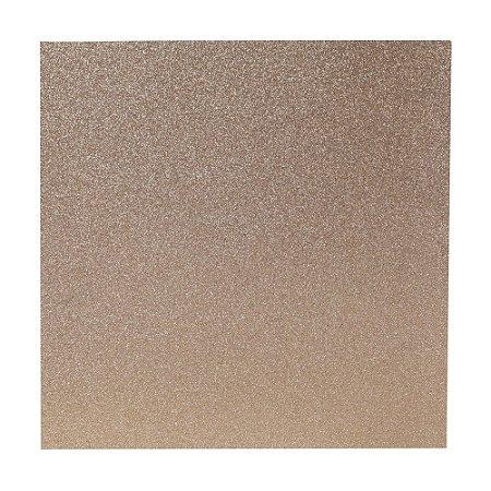 Papel Cardstock Scrapbook Glitter Bronze Claro 5 Folhas