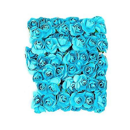 72 Unidades Mini Botão de Rosa em Papel Azul Turquesa