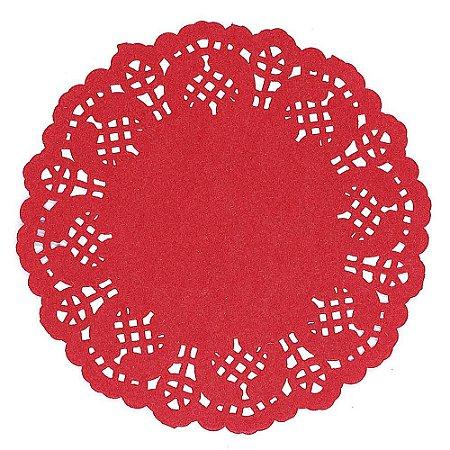 50 Unidades Papel Rendado Redondo 14 cm Vermelho