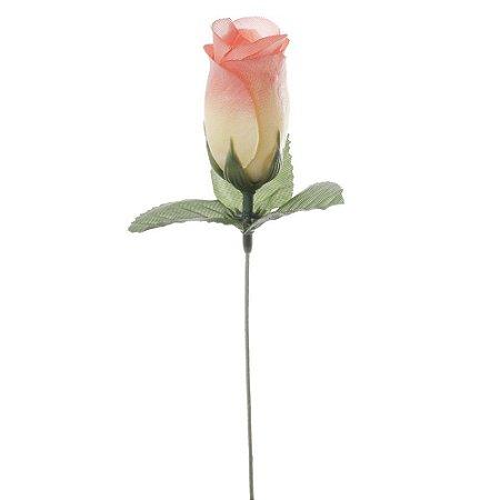 20 Unid. Botão de Rosa com Haste Rosa Claro Mesclado Amarelo