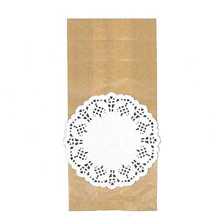 50 Unid. Saco Kraft M + Papel Rendado 14 cm