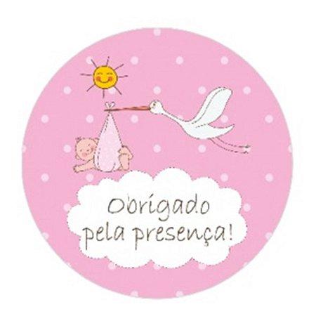 10 Unid. Etiqueta Adesiva Cromo Cegonha Baby Menina 5 Cm