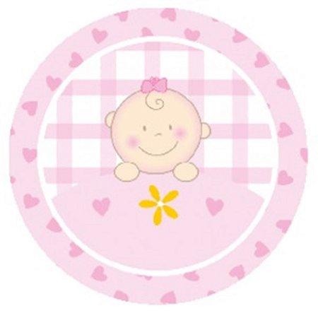 10 Unid. Etiqueta Adesiva Cromo Baby Menina 4 Cm