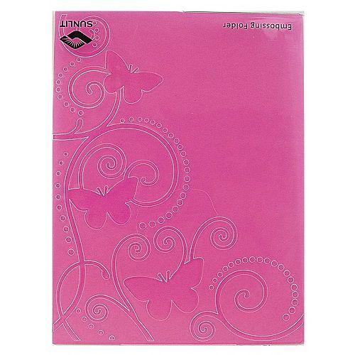 Placa de Textura Emboss 11 cm x 14,6 cm Carta Borboleta