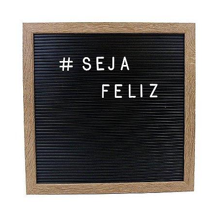 Quadro Letter Board Preta Moldura Madeira Letras Brancas