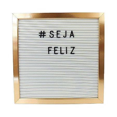 Quadro Letter Board Branca Moldura Dourada Letras Pretas