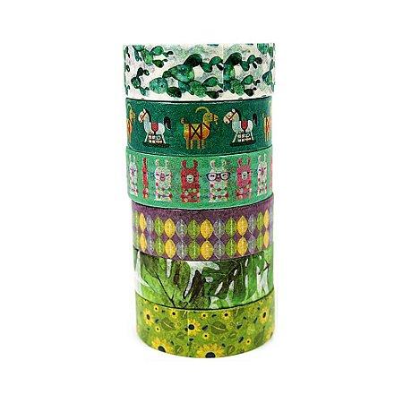 6 Unid Fita Adesiva Washi Tape Estampado Verde Chevron