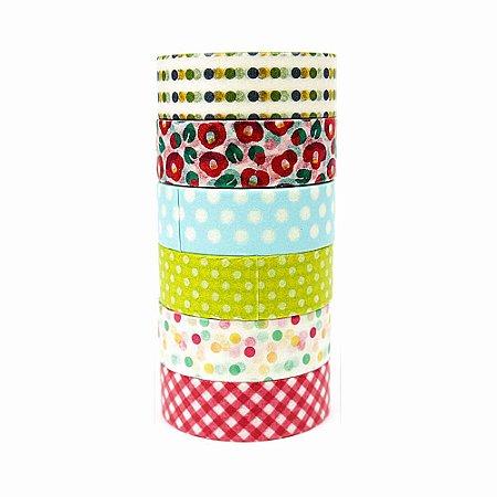 6 Unid Fita Adesiva Washi Tape Estampado Xadrez e Poá