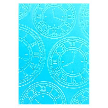 Placa de Textura Emboss 12,9 cm x 18,4 cm Relógios