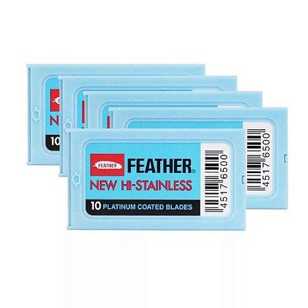 Lâmina de Barbear Platinum Feather Aço Inoxidável - 60 Unidades (1 Cartela com 6 caixinhas)