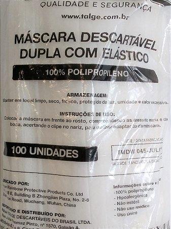 Máscara Descartável Dupla com Elástico - 100% Polipropileno - 100 Unidades - Talge