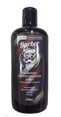 Shampoo Condicionador 2 em 1 - Barba e Cabelo - 240 ML - Barber Line