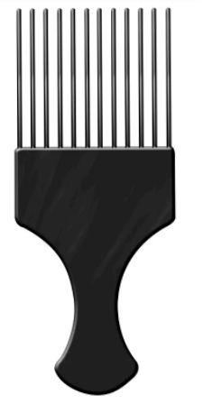 Pente Plástico Afro - Preto - Com Dentes Finos - Santa Clara